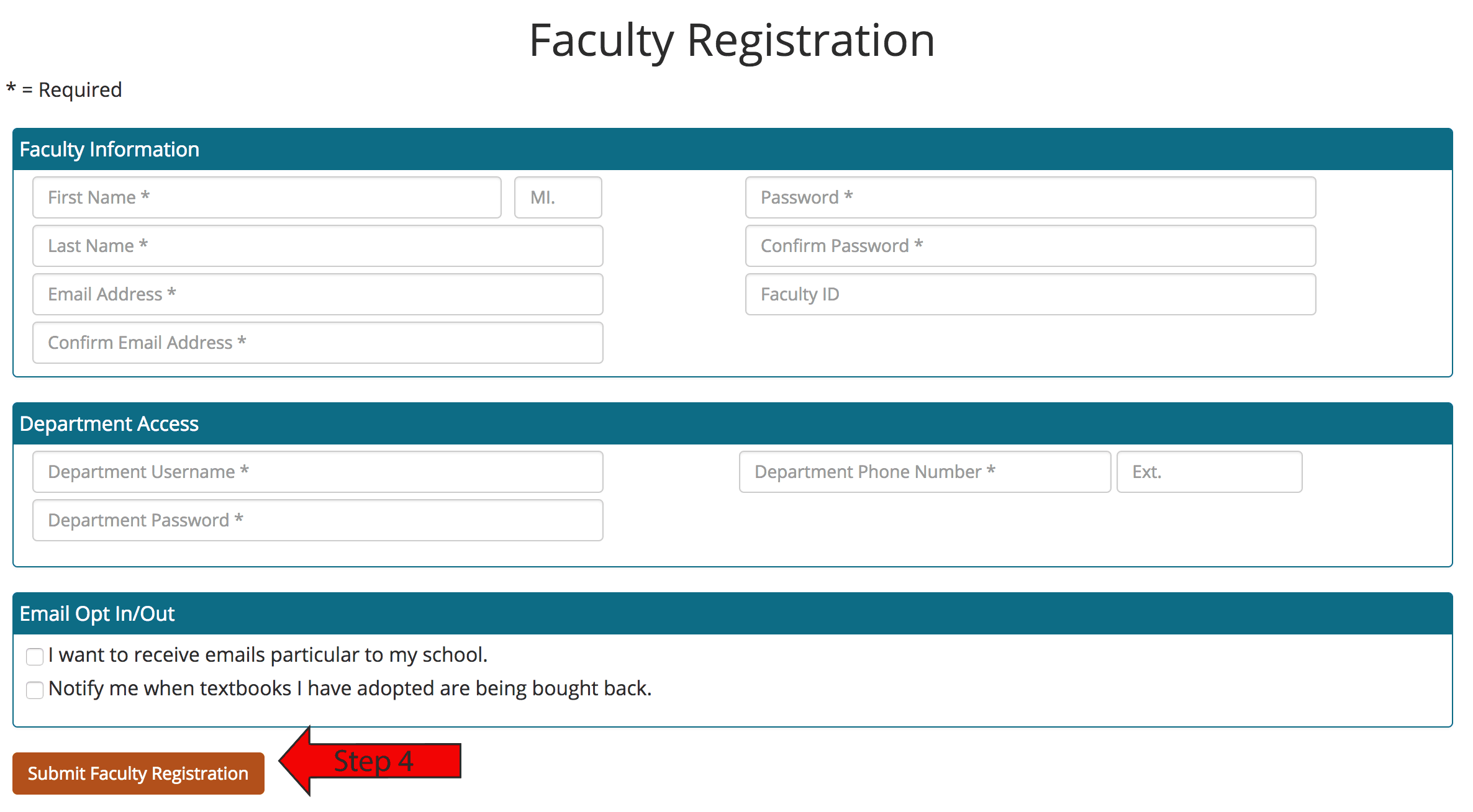 Submit Faculty Registration Button